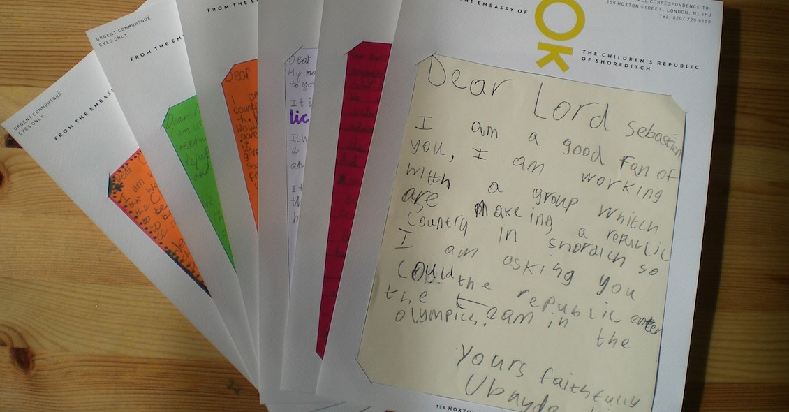 Letters on Children's Republic of Shoreditch stationery