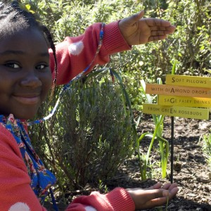 Young poet with her garden poetry - (photo: Miriam Douglas)