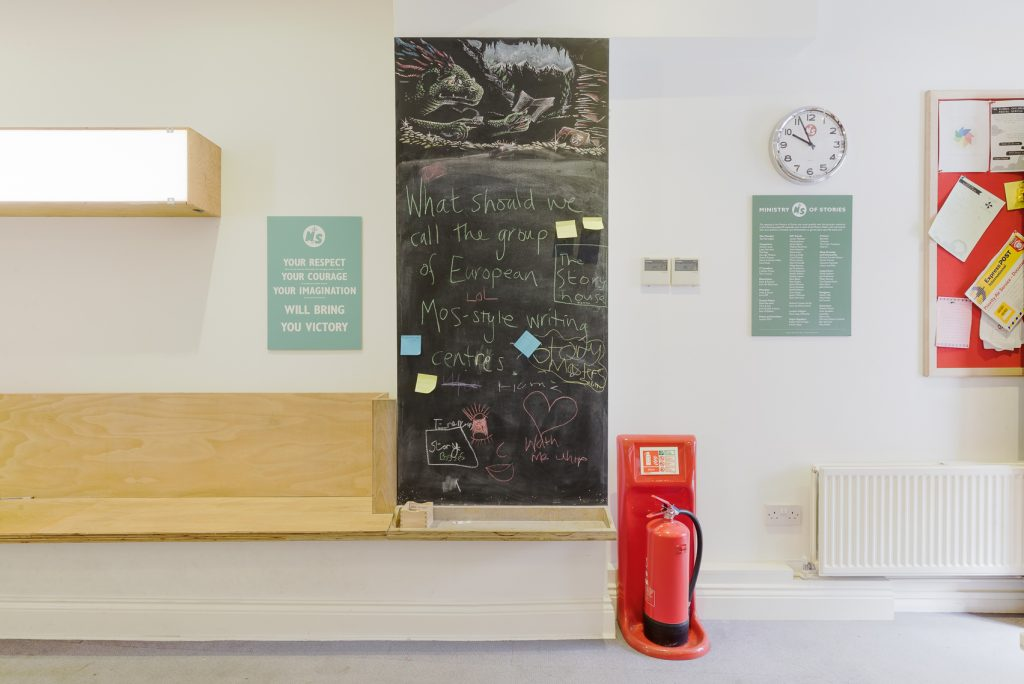 Blackboard in the main workshop space
