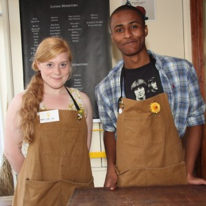 Two volunteer shopkeepers.