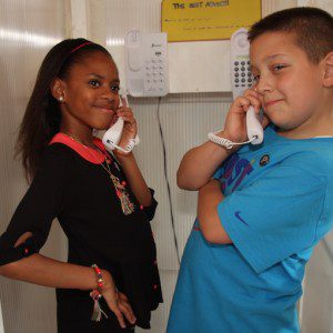 Two young citizens in children's advice bureau