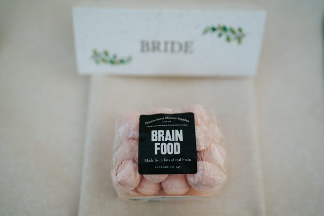 Image of Brain Food in front of Bride place setting