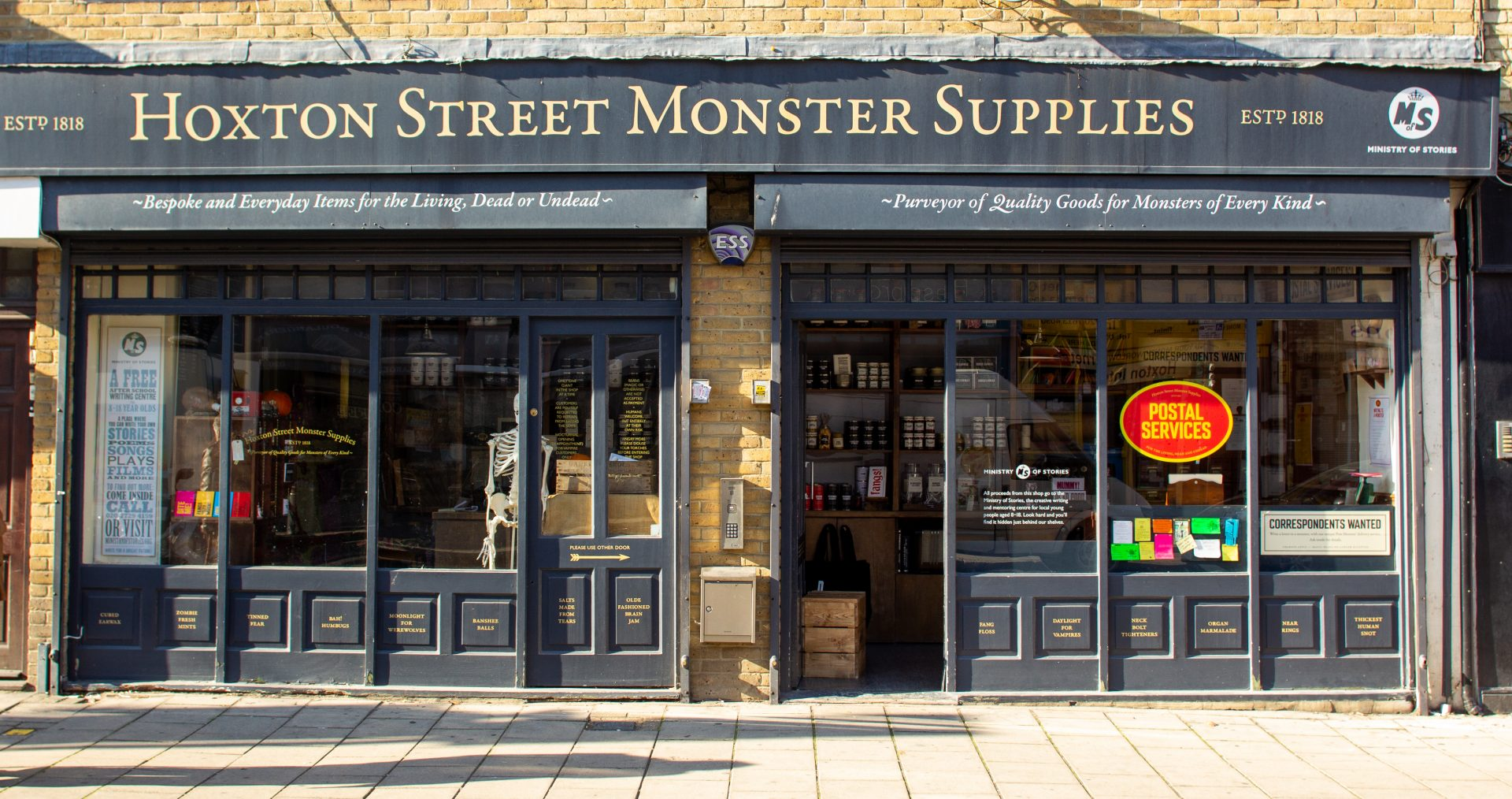 Shop front of Hoxton Street Monster Supplies