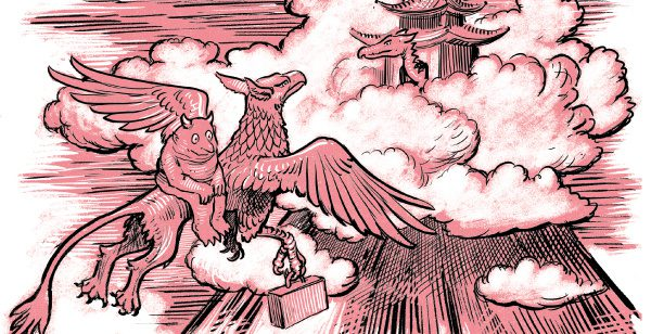 A monster sits on the back of a griffin, flying towards a hotel on top of a tall volcano