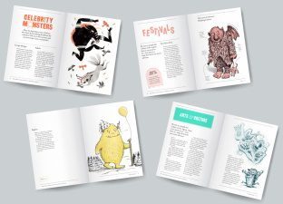Four illustrated monsters celebrate their countries of origin