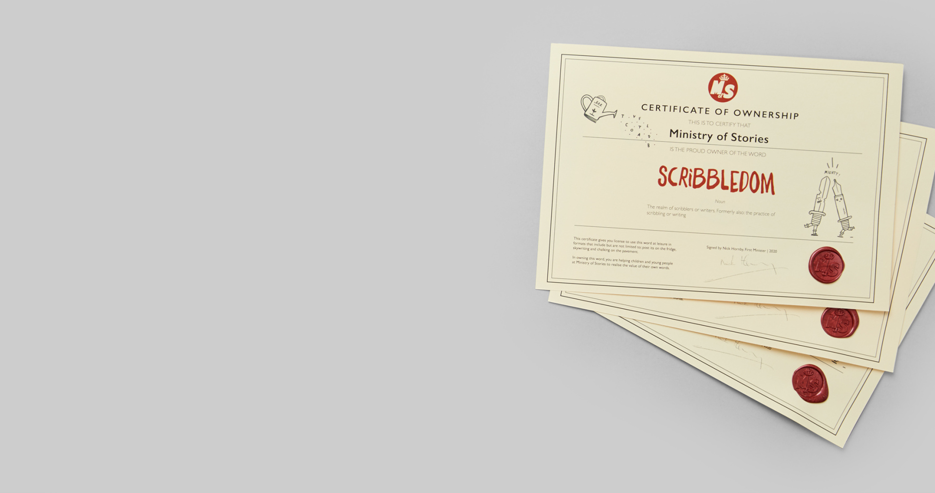 Wax sealed certificate featuring the word Scribbledom