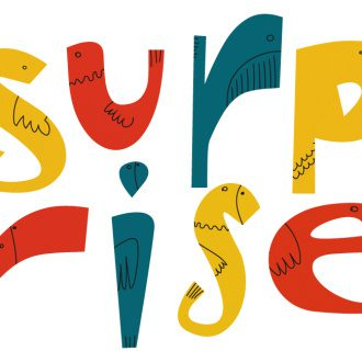 The word surprise illustrated as animals