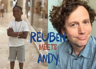 Reuben holds a power stand next to a head shot of andy Andy