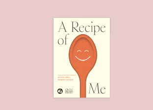 A picture of a book cover which is cream and has a drawing of a wooden spoon with a happy face