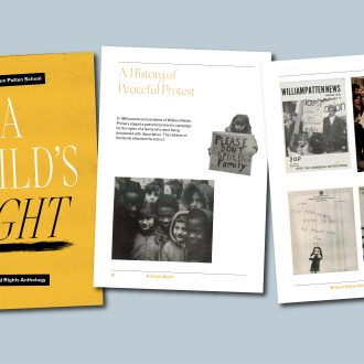A bright yellow cover titled 'A Child's Right' with accompanying pages showing pictures from a school protest in the 70s